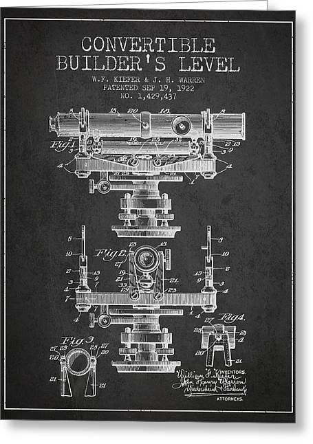 Surveying Greeting Cards - Convertible builders level patent from 1922 -  Charcoal Greeting Card by Aged Pixel