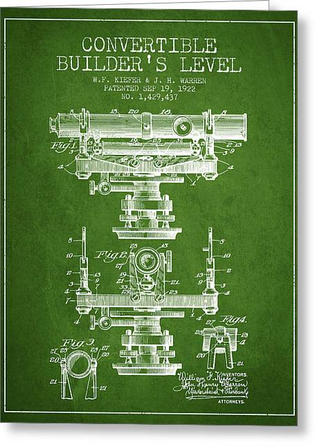 Surveying Greeting Cards - Convertible builders level patent from 1922 -  Green Greeting Card by Aged Pixel