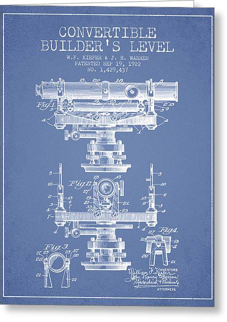 Land Surveyor Greeting Cards - Convertible builders level patent from 1922 -  Light Blue Greeting Card by Aged Pixel