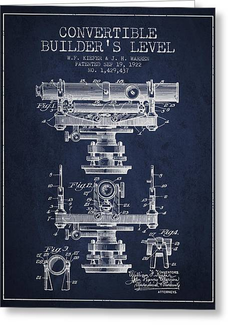 Land Surveyor Greeting Cards - Convertible builders level patent from 1922 -  Navy Blue Greeting Card by Aged Pixel