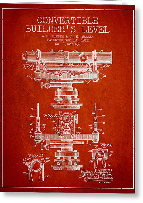 Land Surveyor Greeting Cards - Convertible builders level patent from 1922 -  Red Greeting Card by Aged Pixel