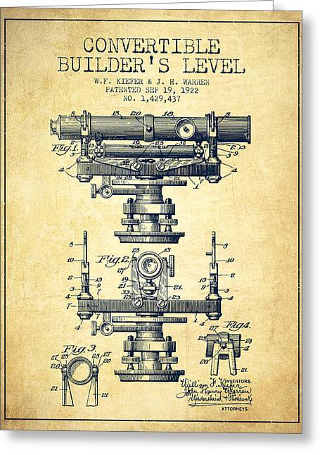 Land Surveyor Greeting Cards - Convertible builders level patent from 1922 -  Vintage Greeting Card by Aged Pixel