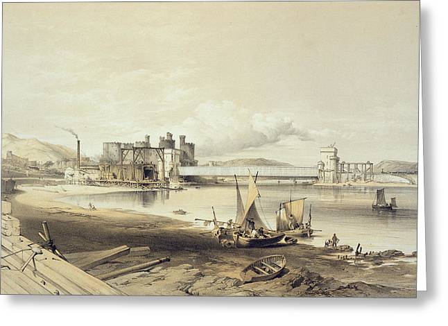 Beach Prints Drawings Greeting Cards - Conway Bridge, Construction Of Second Greeting Card by George Hawkins