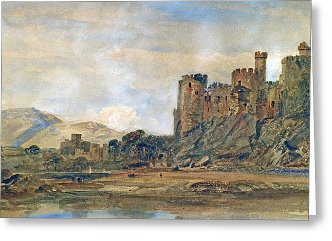 North Conway Greeting Cards - Conway Castle Greeting Card by Peter de Wint