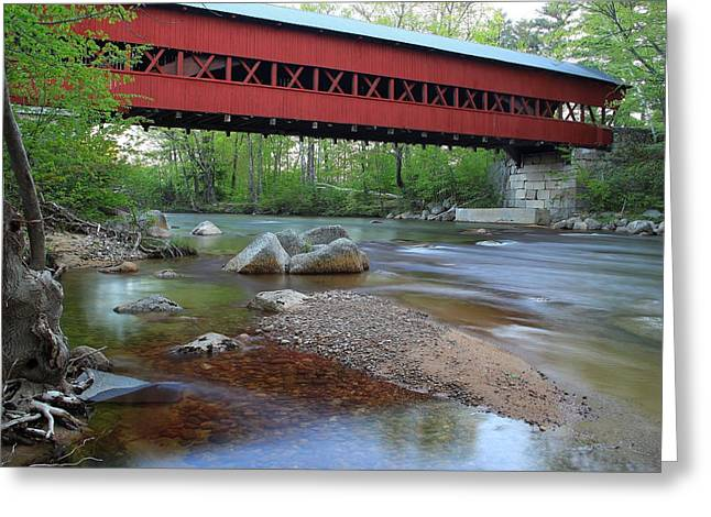 North Conway Greeting Cards - Conway Covered Bridge Greeting Card by Andrea Galiffi