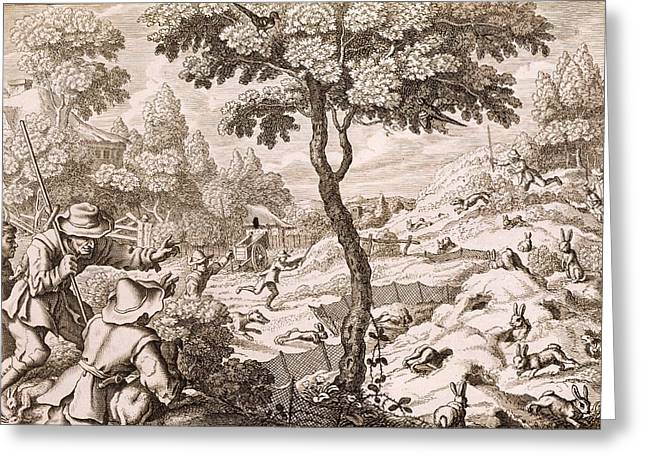 Cony Catching, Engraved By Wenceslaus Greeting Card by Francis Barlow