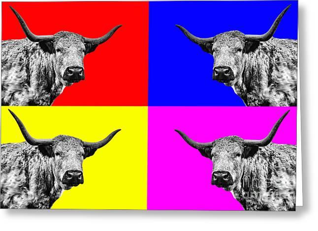 Colourful Art Greeting Cards - Coo Pop Art Greeting Card by John Farnan