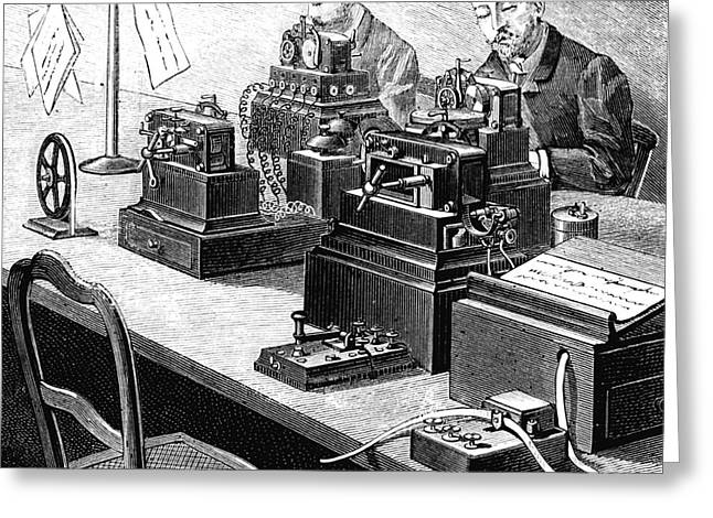 Cooke And Wheatstone Telegraph Greeting Card by Collection Abecasis