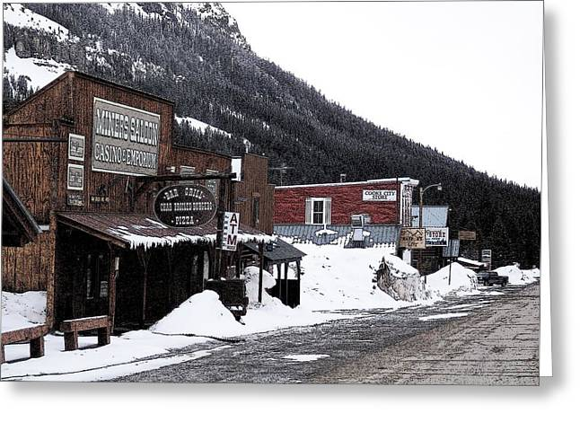 Enhanced Greeting Cards - Cooke City Montana Greeting Card by Silver Wolf Trading Post