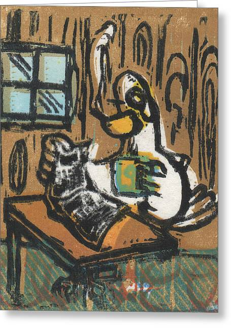 Lino Cut Paintings Greeting Cards - Cooked Goose Greeting Card by Mathew Luebbert