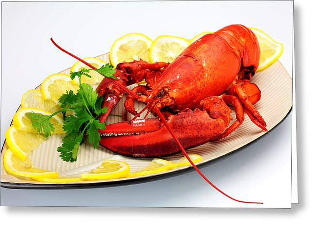 Lemon Art Greeting Cards - Cooked lobster Greeting Card by Paul Ge