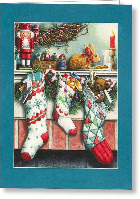Christmas Eve Greeting Cards - Cookies For Santa Greeting Card by Lynn Bywaters