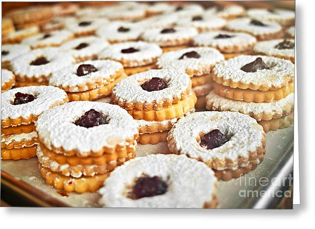 Cookie Greeting Cards - Cookies on baking tray Greeting Card by Elena Elisseeva