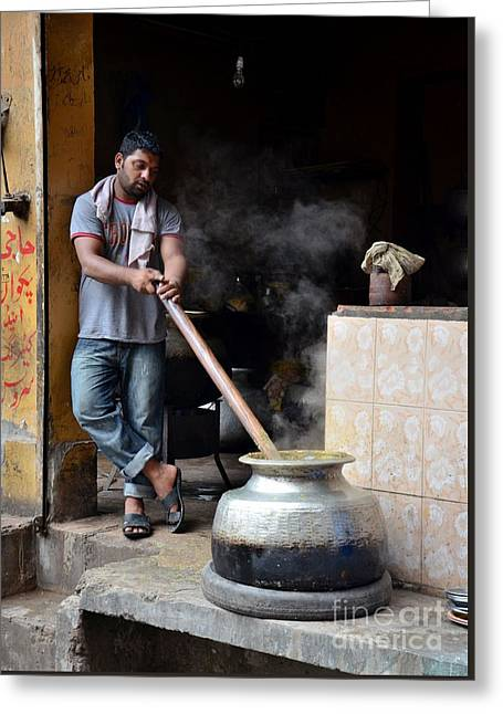 Cooking Breakfast Early Morning Lahore Pakistan Greeting Card by Imran Ahmed