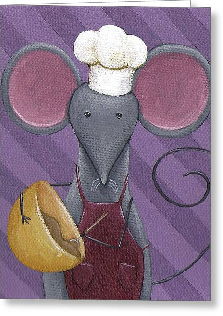 Cooking Mouse Kitchen Art Greeting Card by Christy Beckwith