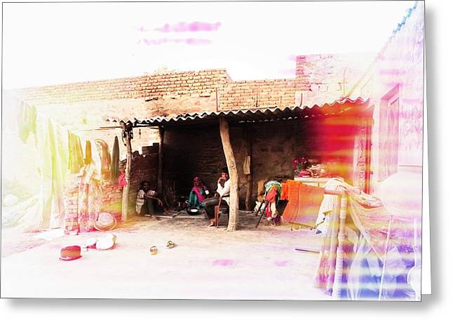 Candid Family Portraits Greeting Cards - Cooking Oven Chulha Tandoori 1a - Family Portrait Indian Village Rajasthani Greeting Card by Sue Jacobi