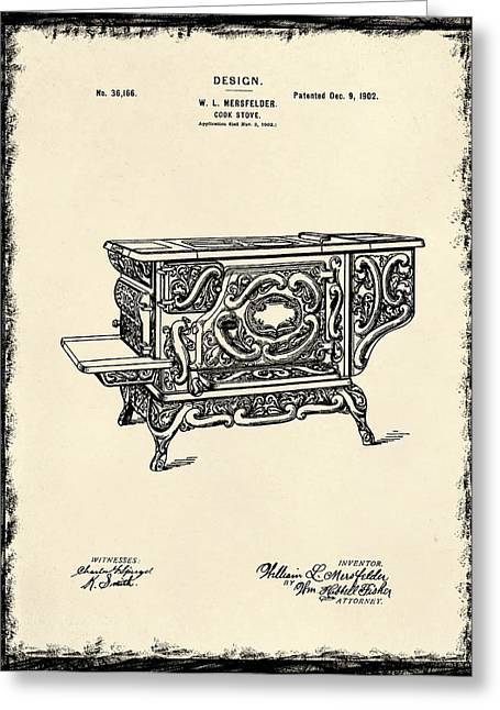 Stove Greeting Cards - Cooking Stove Patent 1902 Greeting Card by Mark Rogan