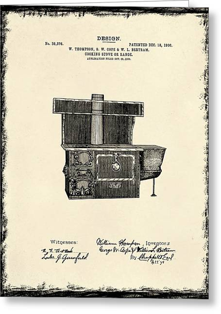 Stove Greeting Cards - Cooking Stove Patent 1906 Greeting Card by Mark Rogan