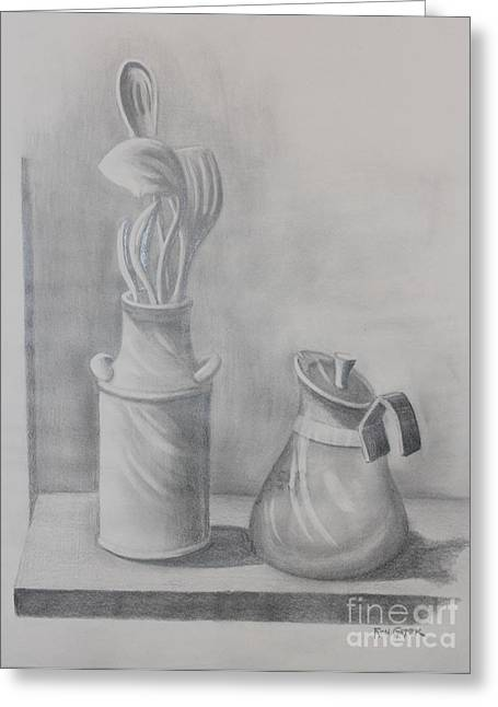 Cook Drawings Drawings Greeting Cards - Cooking Utensils Pencil Drawing Greeting Card by Ronald Gater