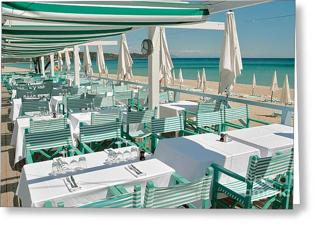 Saint-tropez Greeting Cards - Cool Beach Restaurant Greeting Card by John James