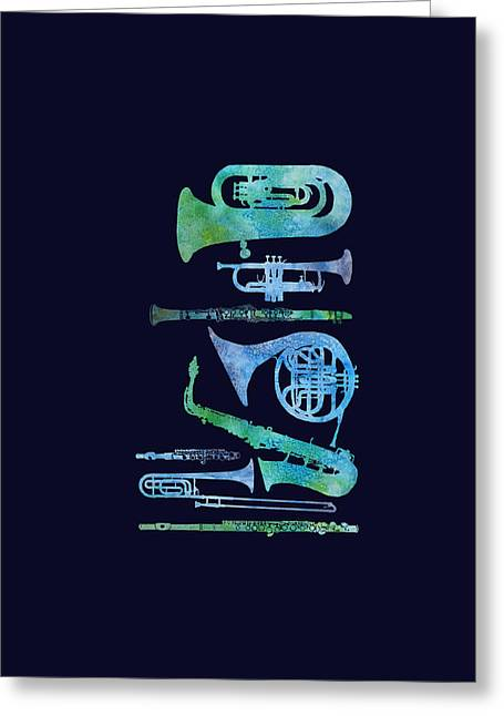 Cool Blue Band Greeting Card by Jenny Armitage