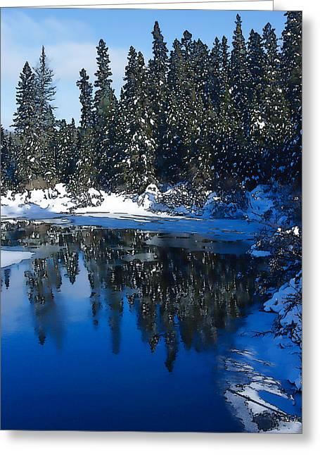 Stream Digital Art Greeting Cards - Cool Blue Shadows - Riverbank Winter Greeting Card by Georgia Mizuleva