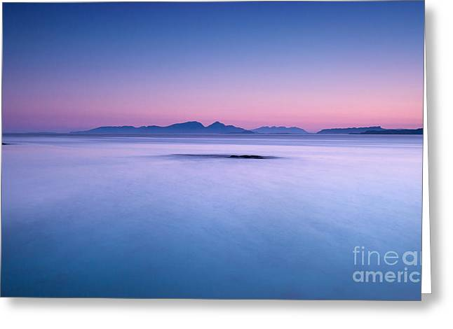 Outer Hebrides Greeting Cards - Calm sunrise Port na Ba Greeting Card by Janet Burdon