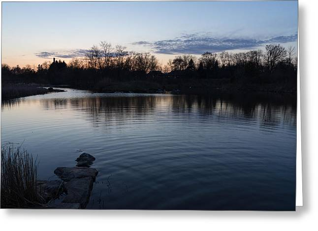 Stepping Stones Greeting Cards - Cool Blue Ripples - Lake Shore Eventide Greeting Card by Georgia Mizuleva