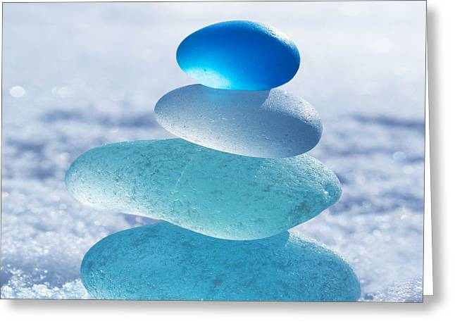 Reflection Glass Greeting Cards - Cool Blues Greeting Card by Barbara McMahon