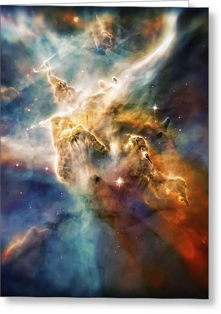 Constellation Greeting Cards - Cool Carina Nebula Pillar 4 Greeting Card by The  Vault - Jennifer Rondinelli Reilly