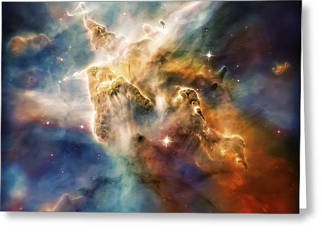Cool Carina Nebula Pillar 4 Greeting Card by The  Vault - Jennifer Rondinelli Reilly