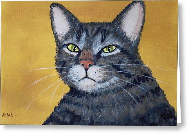 Cool Cat Greeting Card by Anastasiya Malakhova