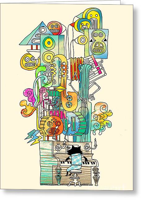Whimsical. Greeting Cards - Cool cat Jazz Greeting Card by Budi Kwan