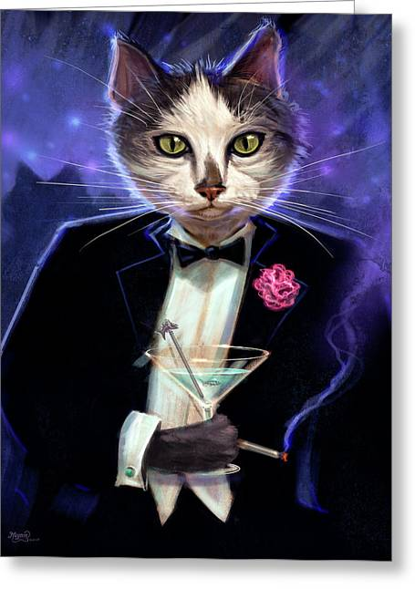 Black Tie Greeting Cards - Cool cat Greeting Card by Jeff Haynie