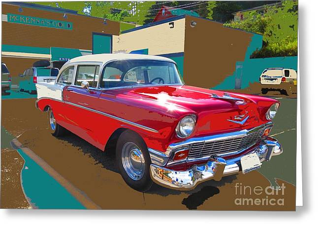 Driving Pyrography Greeting Cards - Cool Chevy Greeting Card by Cindy Daly