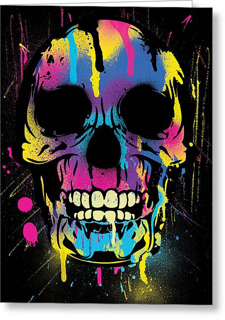 Top Selling Digital Art Greeting Cards - Cool Colorful Skull with Paint Splatters and Drips Greeting Card by Denis Marsili