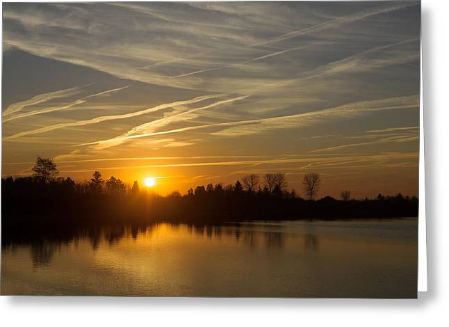 Gloaming Greeting Cards - Cool Contrails and Sunshine Greeting Card by Georgia Mizuleva