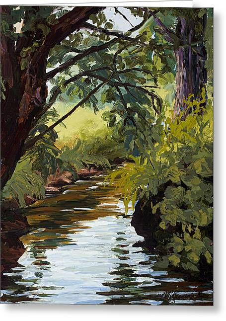 Pallet Knife Greeting Cards - Cool Diversion Greeting Card by Mary Giacomini