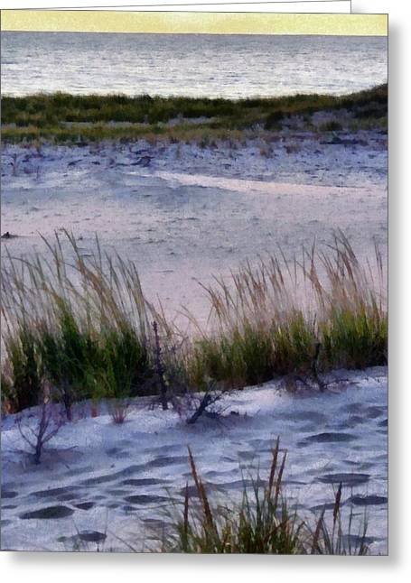 Oats Digital Greeting Cards - Cool Dunes at Sunset Greeting Card by Michelle Calkins
