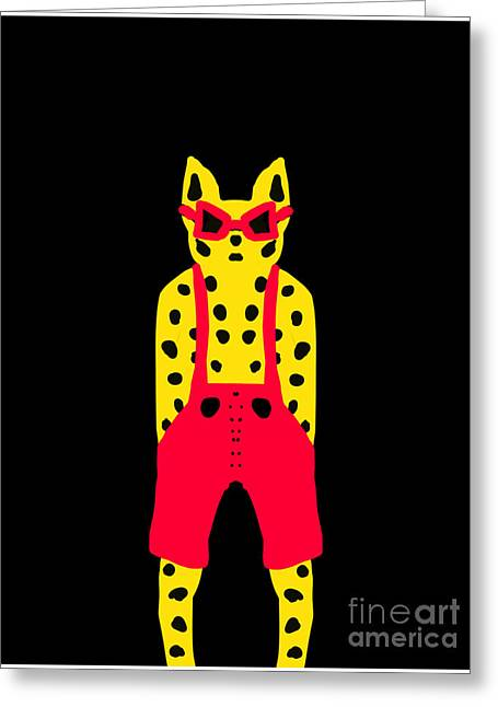 Dungarees Greeting Cards - Cool for Cats in Red Dungarees Greeting Card by Beverley Brown