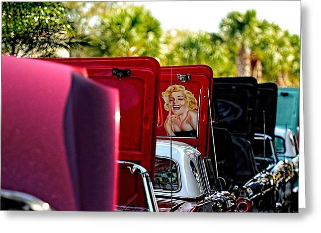 Palm Springs Car Show Greeting Cards - Cool Hood Greeting Card by Pamela Blizzard