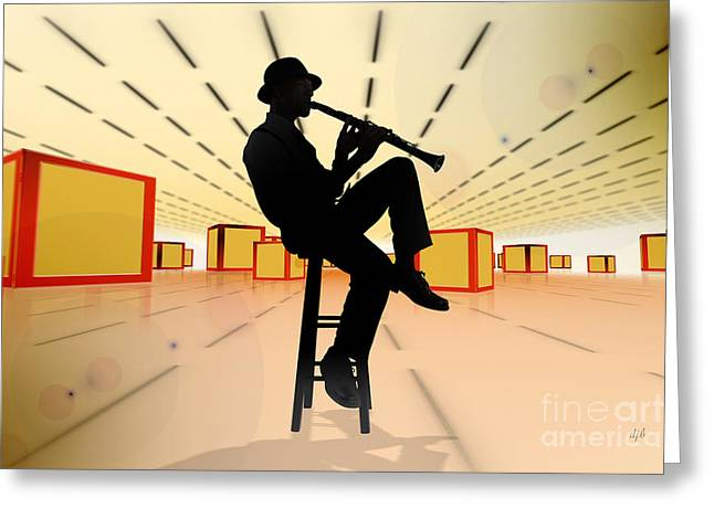 Perspective Mixed Media Greeting Cards - Cool Jazz 3 Greeting Card by Bedros Awak