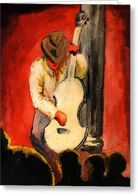 Stand Up Bass Greeting Cards - Cool Jazz served Hot Greeting Card by Del Gaizo