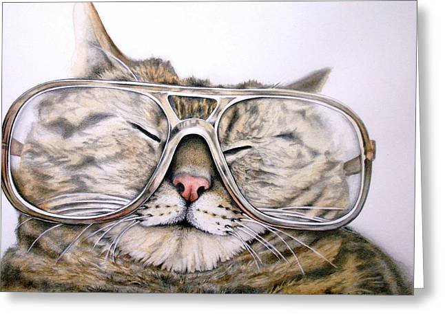 Kat Mixed Media Greeting Cards - Cool Kat Greeting Card by Julie Senf