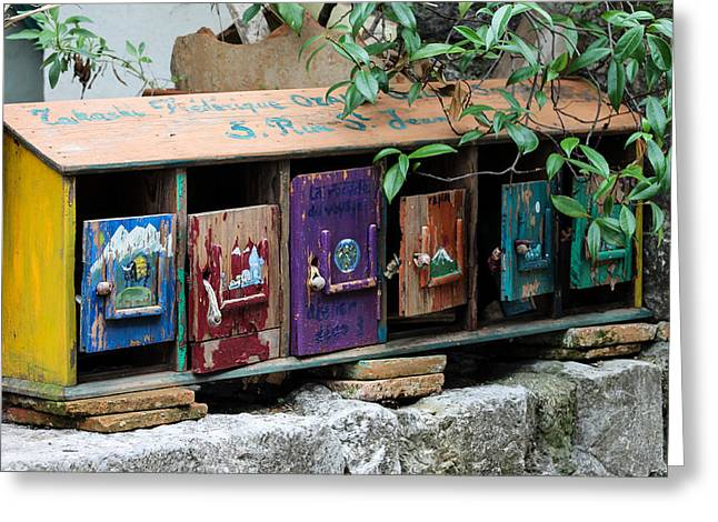 Provence Village Greeting Cards - Cool letter boxes Greeting Card by Catherine Arnas