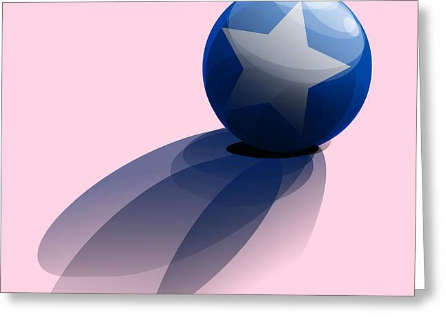 Blue Ball Decorated With Star Greeting Card by R Muirhead Art