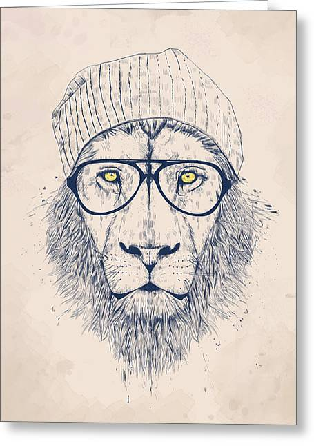 Glass Greeting Cards - Cool lion Greeting Card by Balazs Solti