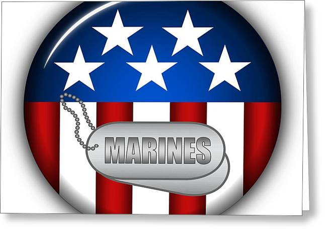 4th Of July Mixed Media Greeting Cards - Cool Marines Insignia Greeting Card by Pamela Johnson