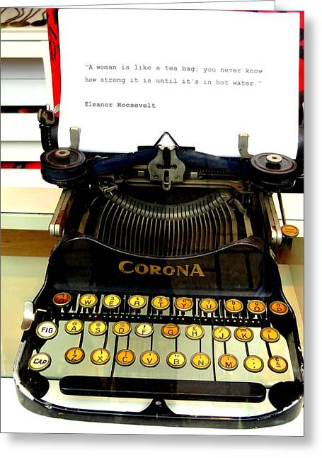 Typewriter Greeting Cards - Cool Message on a London Vintage Typewriter Greeting Card by Funkpix Photo Hunter