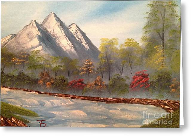 Bob Ross Paintings Greeting Cards - Cool Mountain River Greeting Card by Tim Blankenship